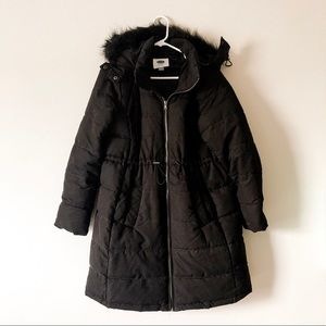 OLD NAVY black maternity long puffer jacket